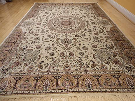 Stunning Silk Rug Persian Traditional Area Rugs Large 8x12 Living Room Rugs  Ivory Rug Luxury 8x11 Part 93