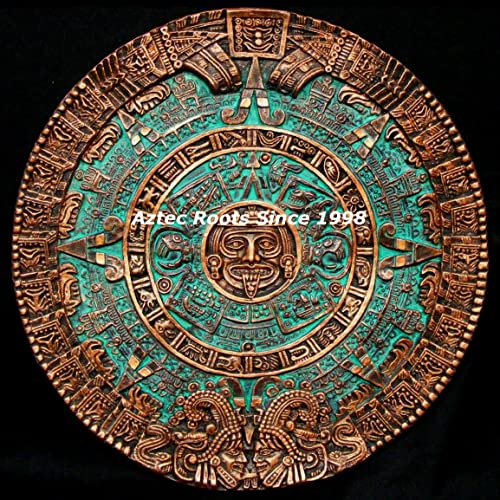 16″ Aztec Maya Mayan Solar Sun Stone Calendar Statue Sculpture Wall Plaque Xiuhpohualli Tonalpohualli Mesoamerican Mexican Mexico Ancient Aliens Chariots of the Gods Art 001