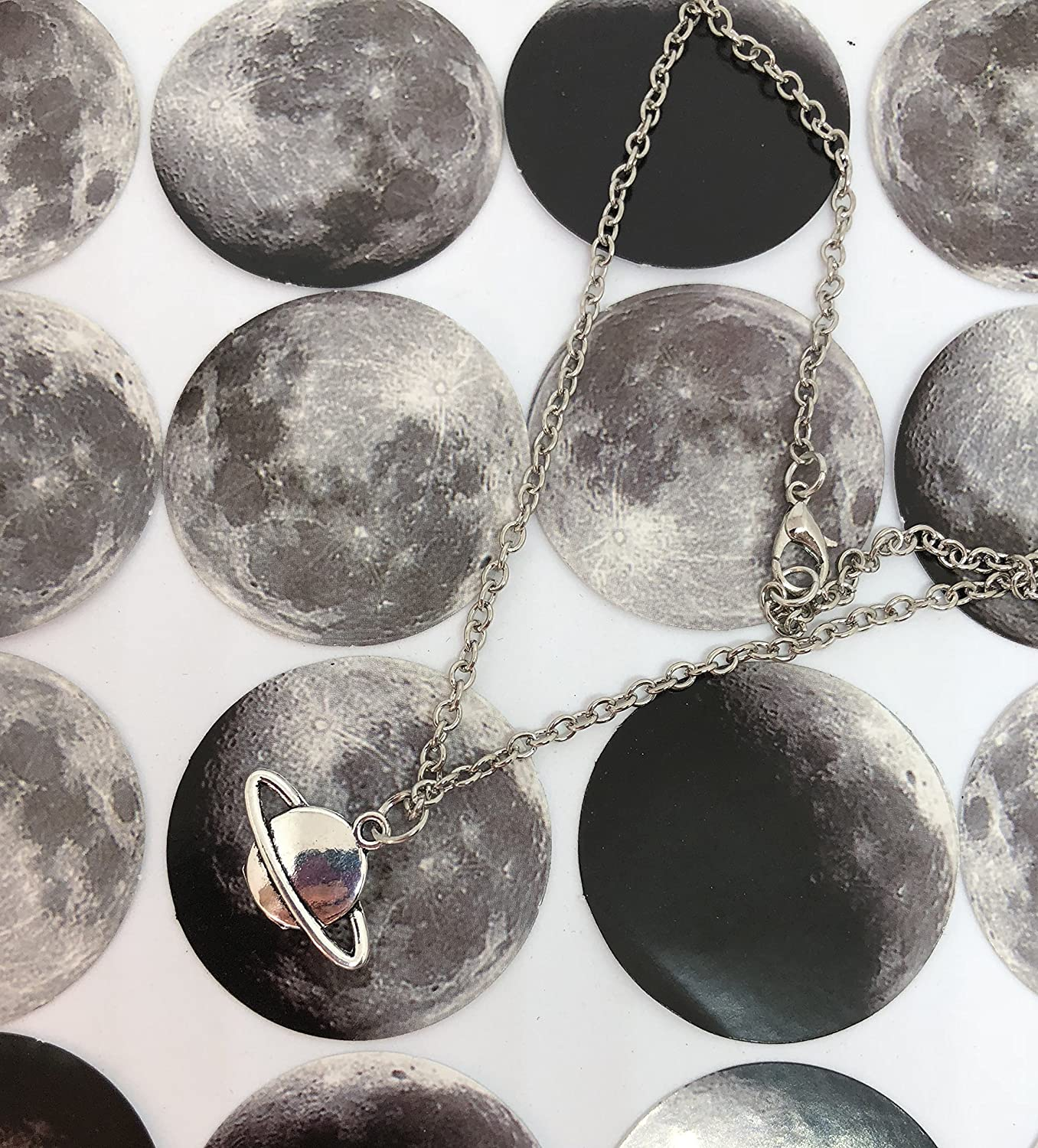 Rings of Saturn silver tone charm Necklace - Handmade Planet jewelry