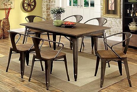 Amazon.com - Furniture of America Cadiz 7-Piece Industrial Dining ...