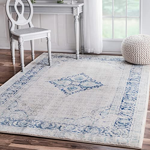 Traditional Vintage Centerpiece Light Blue Area Rugs, 5 Feet by 7 Feet 5 Inches 5 x 7 5