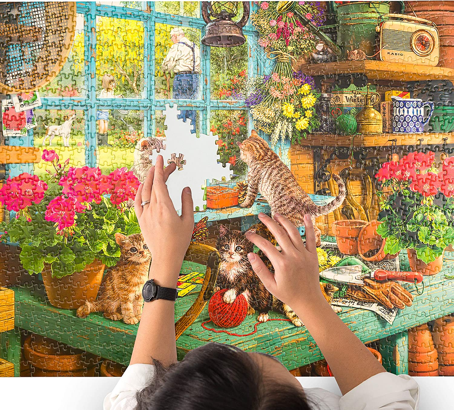 Jigsaw Puzzles for Adults 1000 Piece Stress Reliever Art Puzzle with Vivid Colors for Family Bonding Challenging Afternoon Cat Adult Puzzles