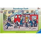 """Ravensburger Kinderpuzzle """"Mein Feuerwehrauto"""" - 06321 / Rahmenpuzzle 15-teilig mit Feuerwehr-Motiv - für Kinder ab 3 Jahre"""