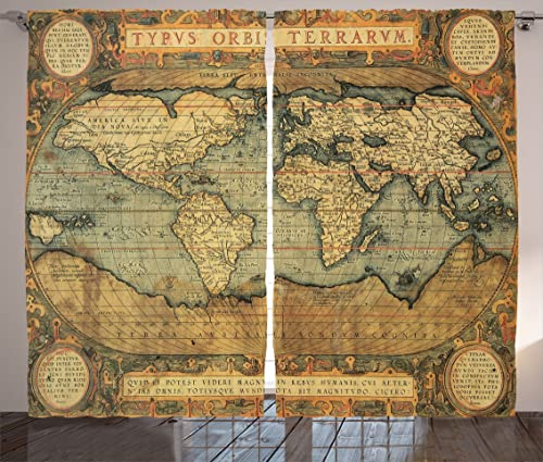Ambesonne World Map Curtains, Old Chart Vintage Composition of 16th Century Atlas Print, Living Room Bedroom Window Drapes 2 Panel Set, 108 X 84 , Sand Blue