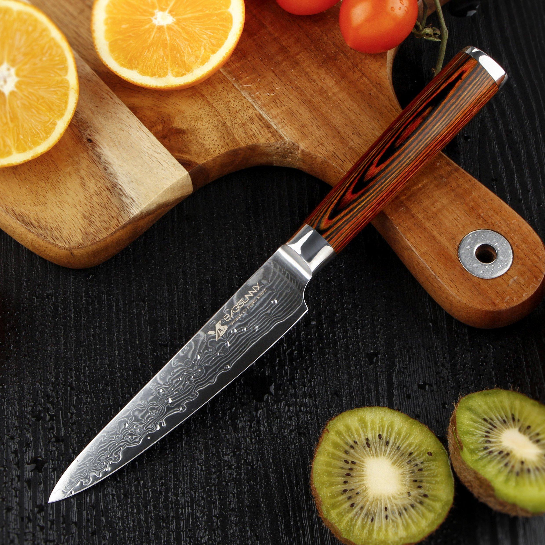 BIGSUNNY 5 Inch Utility Knife VG10 Damascus Steel, Pakka Wood Handle