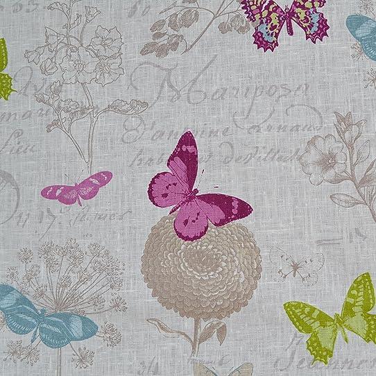 Tissu en lin imprimé - Papillon (Blanc)   100% lin   Largeur ...