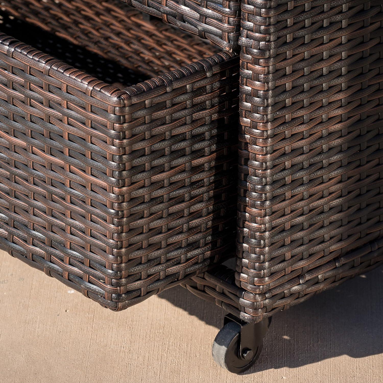 Amazon Com Bar Cart Utility Rolling Wheels Wicker Kitchen Island Storage Portable Table Indoor Outdoor Backyard Patio Food Drinks Serving Trolly Bar Cart