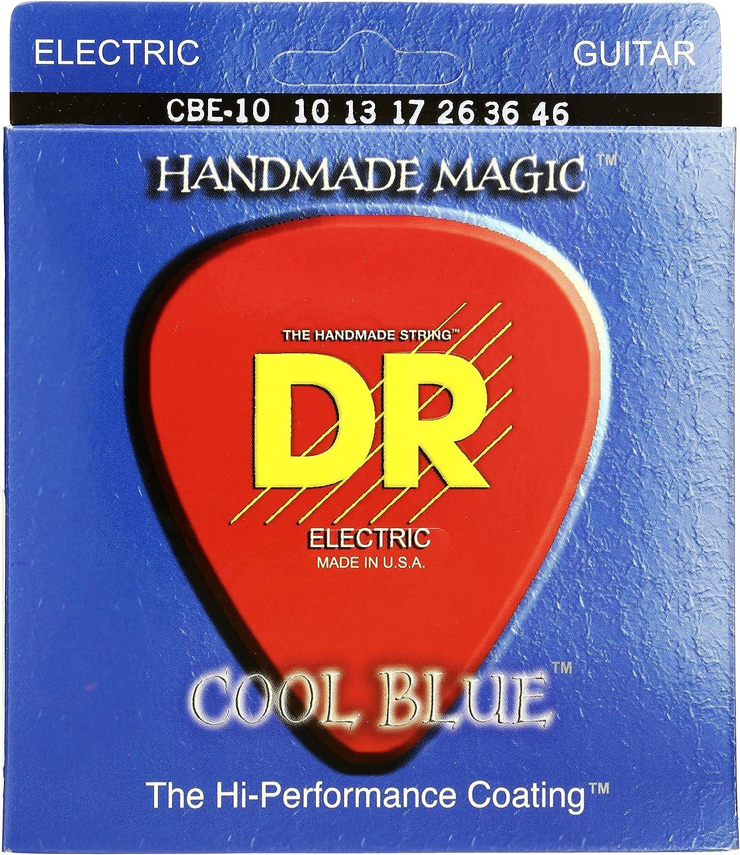 DR Strings CBE10 10-46 - Cuerdas eléctricas con revestimiento azul frío (hechas a mano)