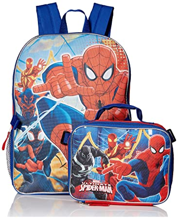 063b1dea3446 Marvel Boys' Spiderman, Backpack with Lunch Kit Comfort, Red/Blue