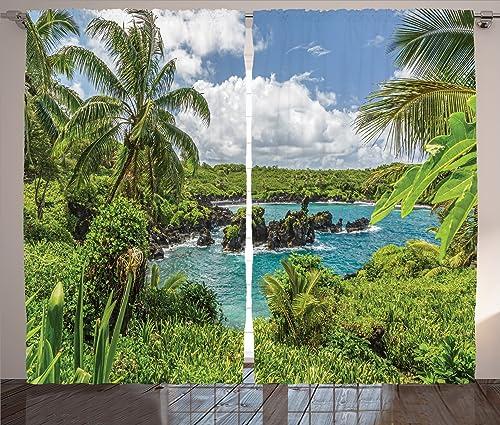 Ambesonne Hawaiian Curtain