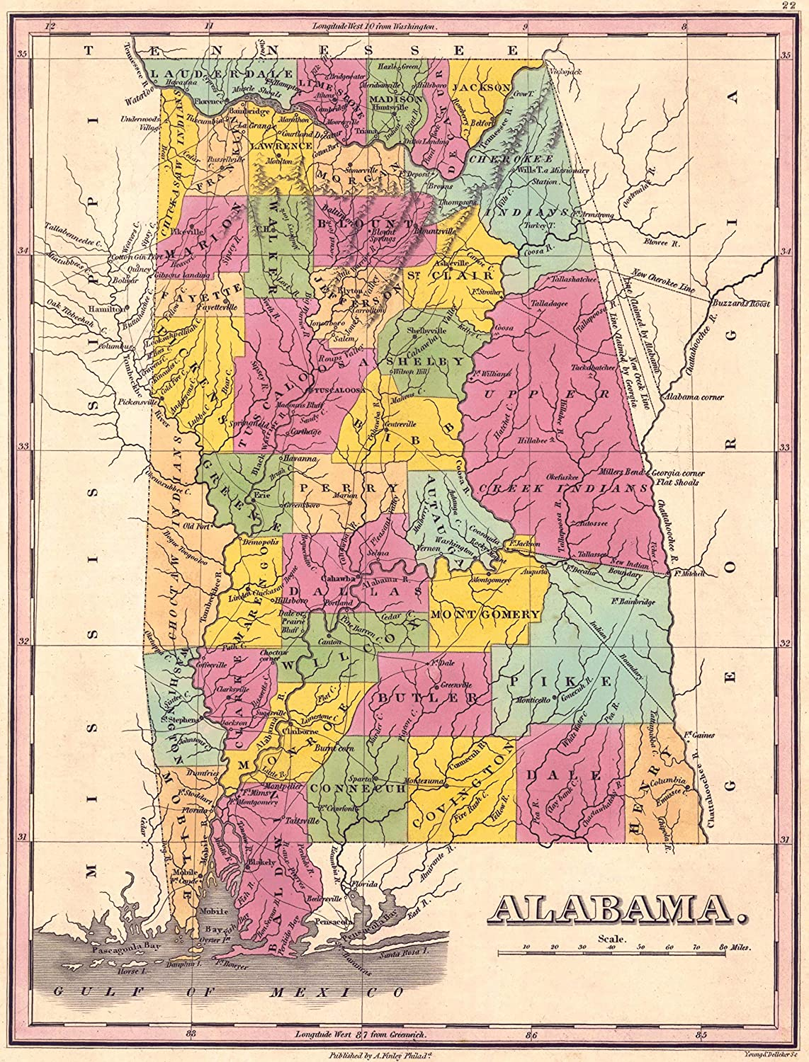 Vintage Map of Alabama Counties, 1833 - 42\