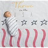 Amazing Baby Swaddle Studio Milestone Muslin Blankets, Set of 3, Thrive in The USA, Americana Flag, Denim
