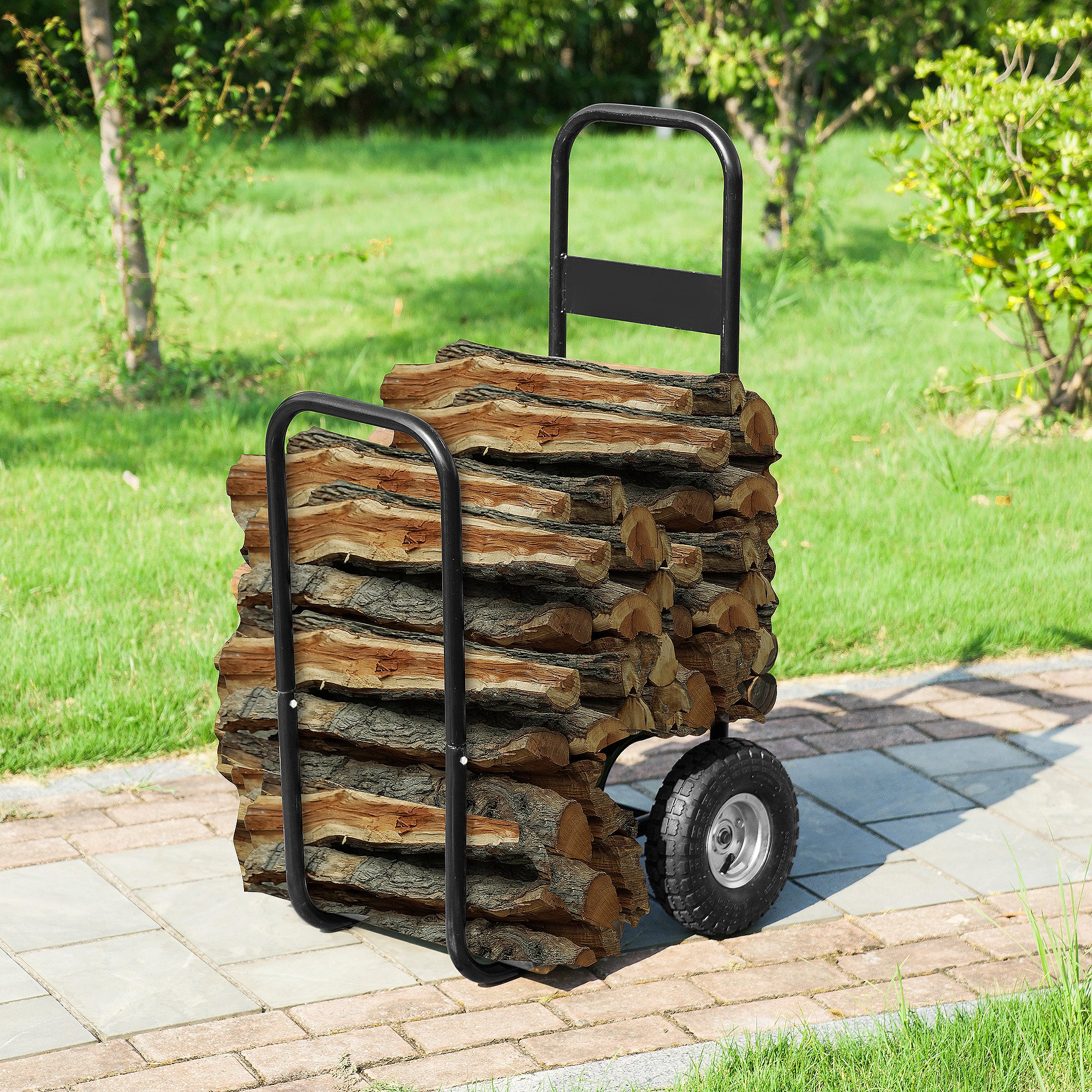 Earth Worth 83-DT5199 Firewood Log Cart | Wood Mover-Hauler-Roller | Blac by Earth Worth