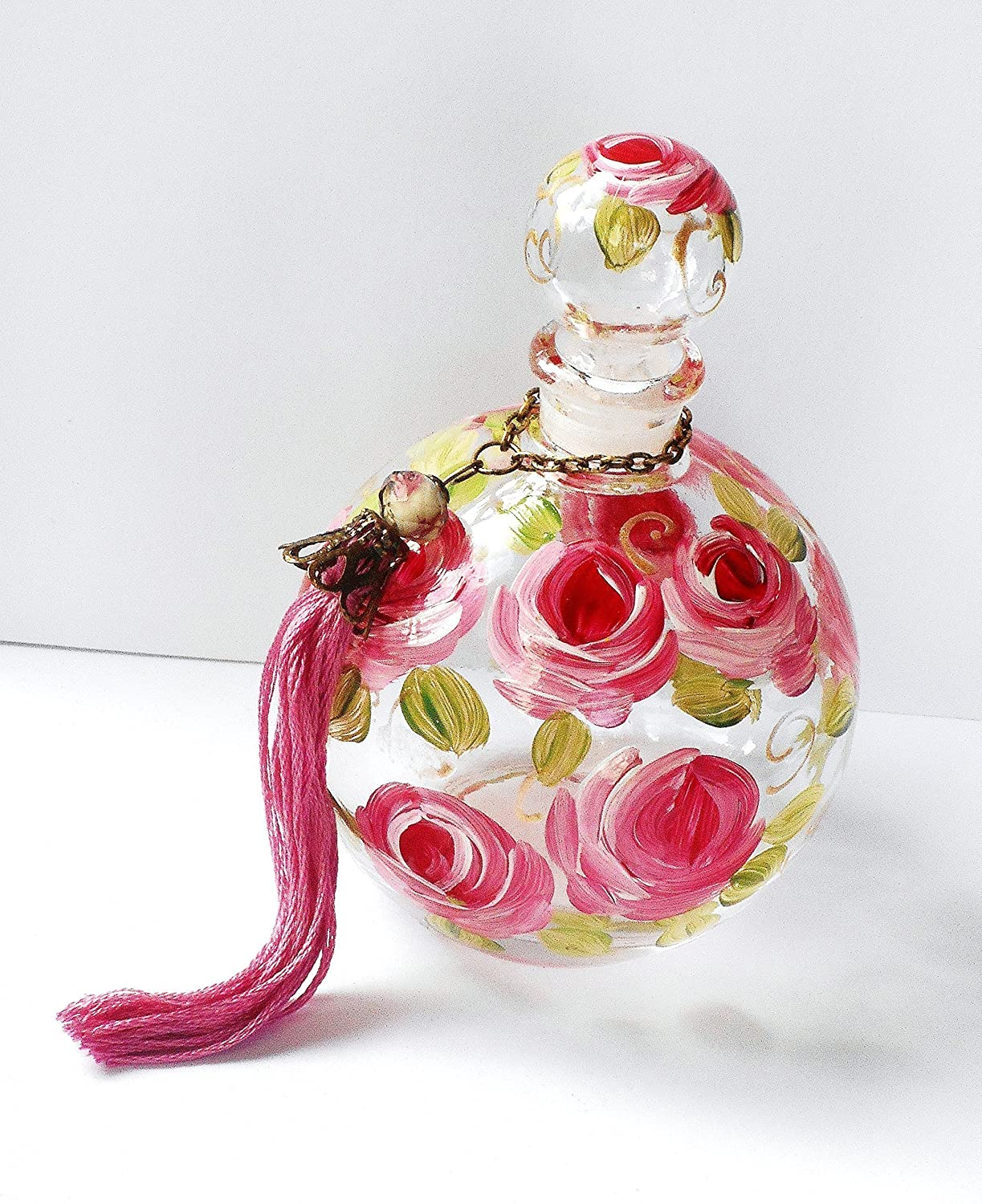 Hand Painted Rose Large Round Empty Glass Perfume Bottle with Stopper Cap and Handmade Tassel Home Décor Decorative Accessories