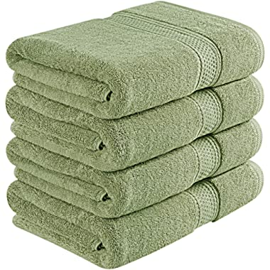 Utopia Towels 700 GSM Premium Bath Towels - 4 Pack Towel Set - (27x54 Bath Towels) - 100% Ring-Spun Cotton Towels for Home, Hotel and Spa, (Grey) (Sage Green, 4)