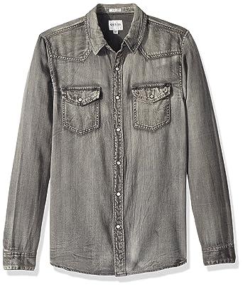 2de1fa6ffe9 GUESS Men s Slim Coated Western Denim Shirt at Amazon Men s Clothing ...