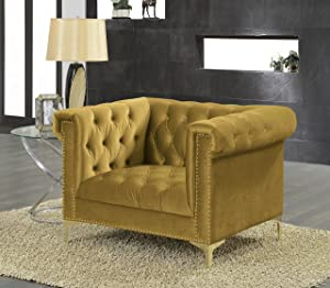 Iconic Home Gold/COGNAC Gold Bea Velvet with Nail head Trim Tone Metal Club Chair