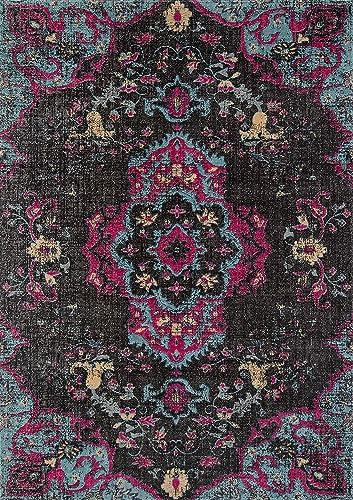 Momeni Rugs Jewel Traditional Medallion Flat Weave Area Rug, 7 10 x 9 10 , Charcoal Grey