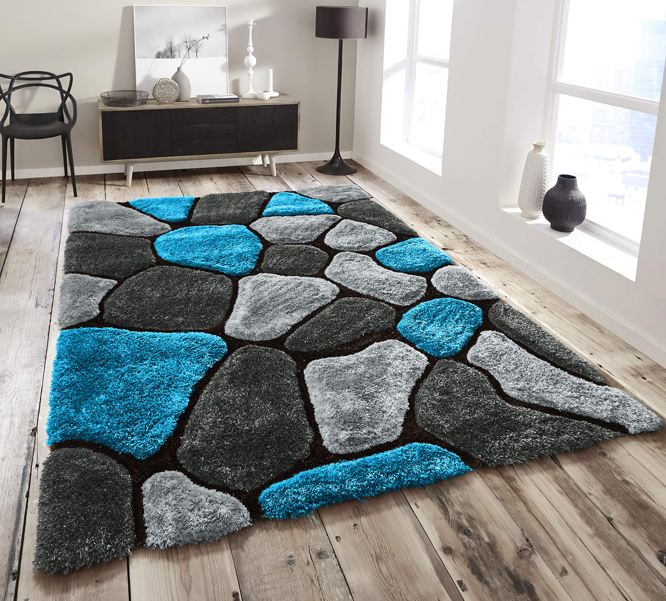 Verge Honeycomb Modern Grey//Blue Shaggy Rugs 3D Effect Textured Pile 120X170CM