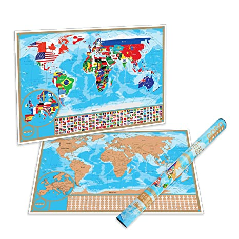 Amazoncom Scratch Off World Map Poster With Detailed US States