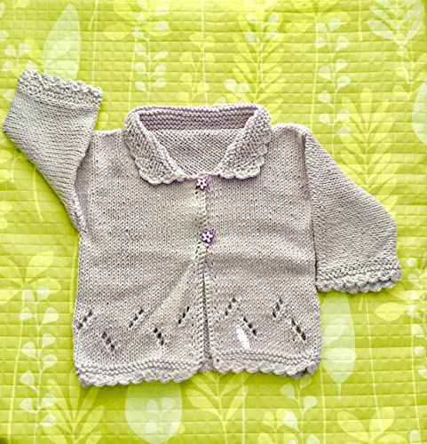 Amazoncom Adorable Hand Knit Baby Sweater Lavenderlilac In