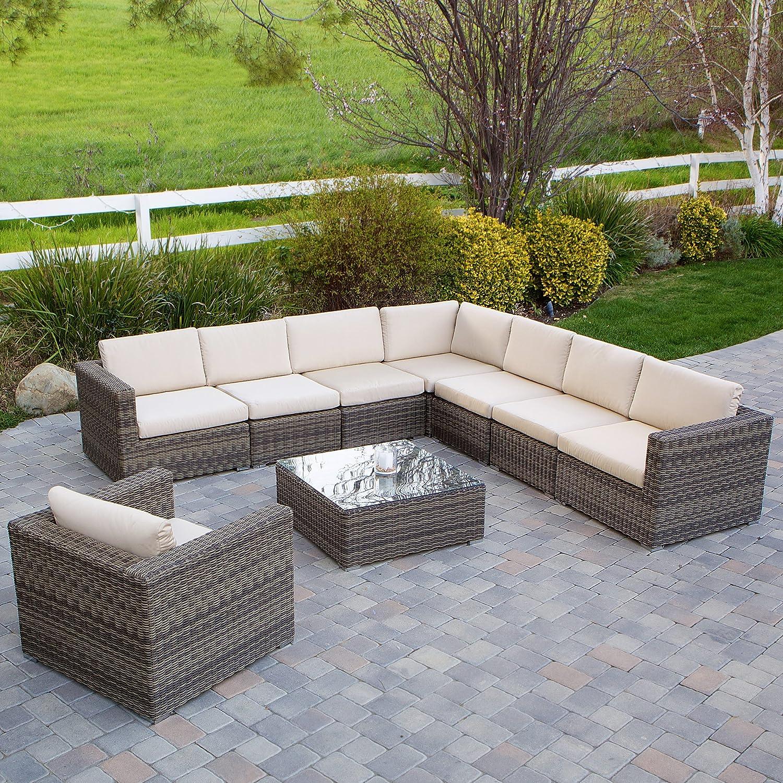 Amazon Sydney 9 Piece Outdoor Sofa Sectional Set Patio Lawn