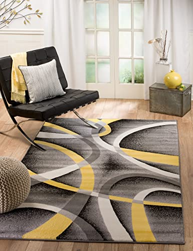 Summit 21 New Yellow Grey Area Rug Modern Abstract Many Sizes Available , 7 .4 x10.6