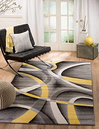 Amazon Com Summit 21 New Yellow Grey Area Rug Modern Abstract Many Sizes Available 4 10 X 7 2 Furniture Decor