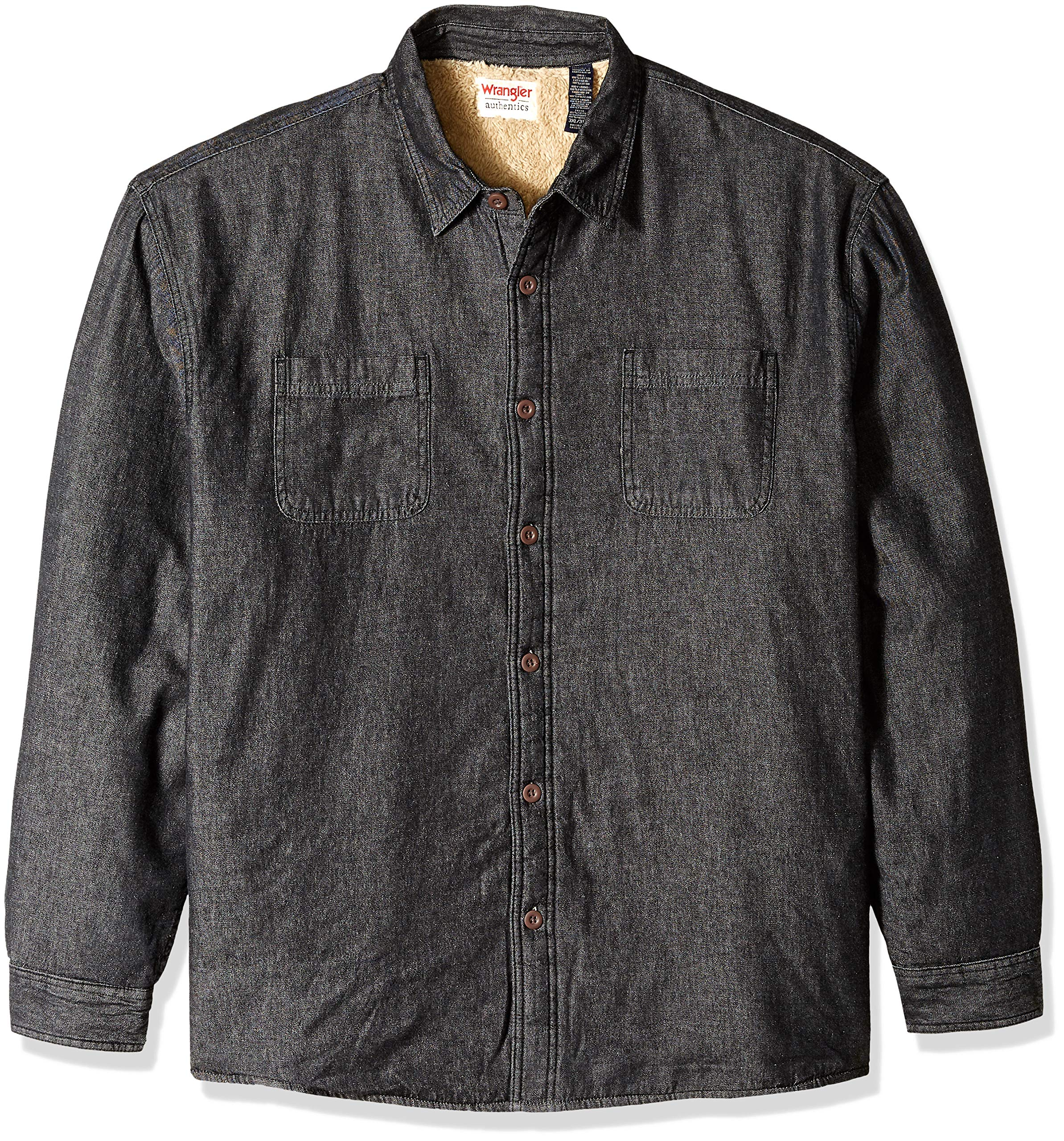 Wrangler Authentics Men's Big & Tall Long Sleeve Sherpa Lined Flannel Shirt Jacket, black denim, 3XL by Wrangler