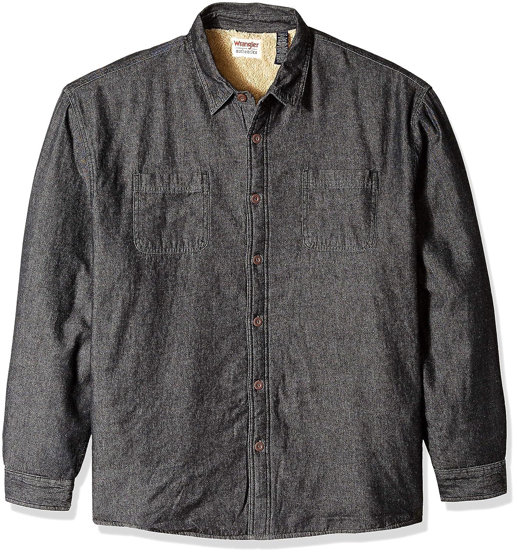 Wrangler Authentics Mens Long Sleeve Sherpa Lined Denim Shirt Jacket