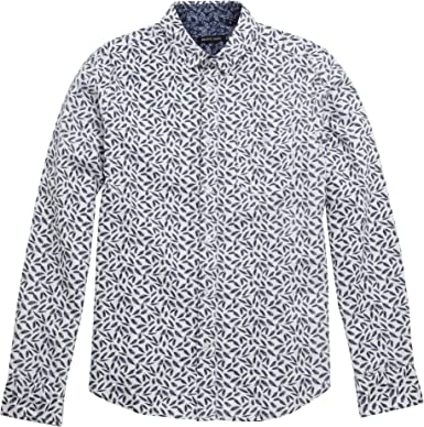 Brave Soul - Camisa informal con estampado de plumas modelo Eagle para hombre