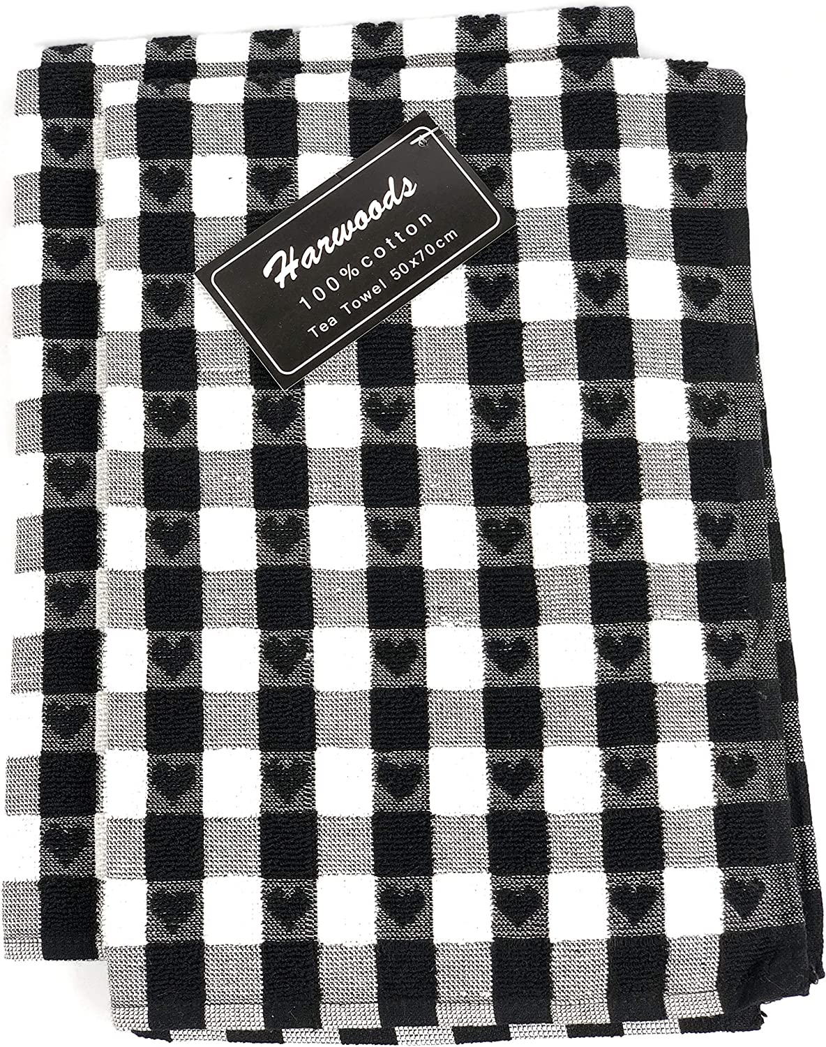 Black NCS Twin Pack Cotton Hearts Check Hand Dish Drying Kitchen Terry Tea Towels Dishcloth