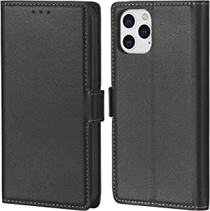 Crosspace Case Compatible with iPhone 12/12 Pro[6.1 inch,2020 Release],Wallet Case for Men with Card Holder,Premium Ultra Slim PU Leather Flip Cover Case Professional & Kickstand-Black