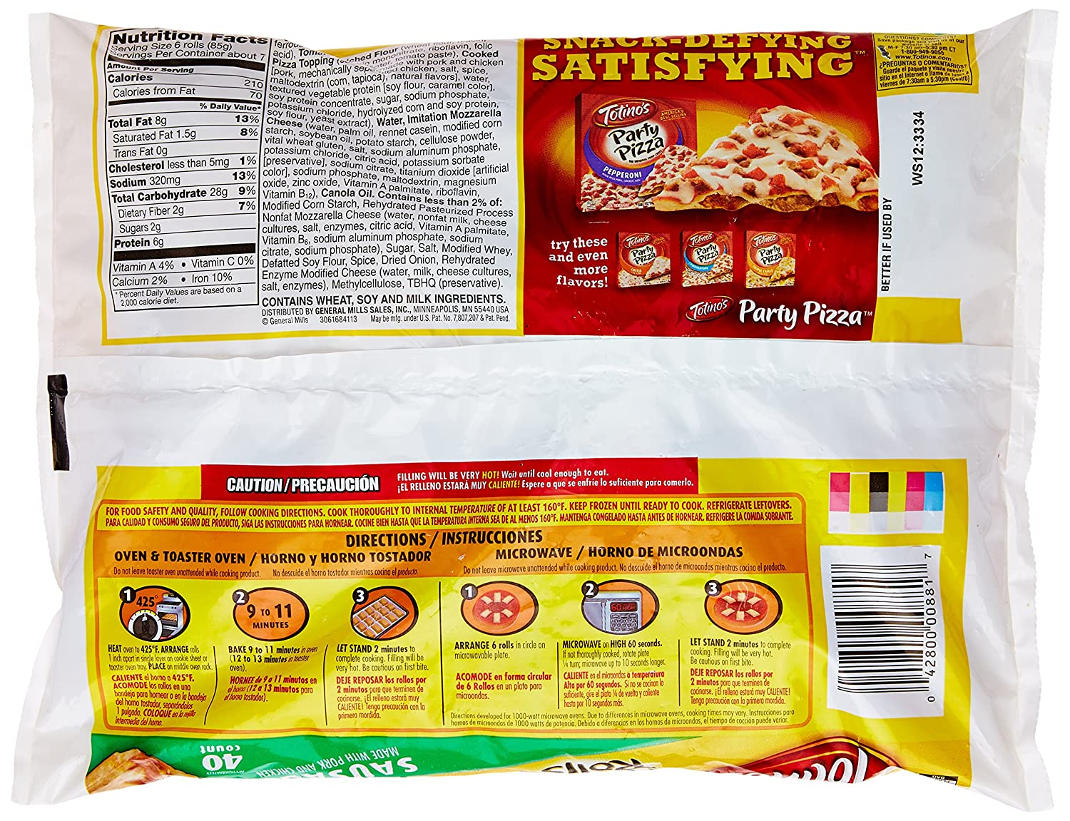 Totinos Sausage Pizza Rolls, 19.8 oz. Bag (Frozen): Amazon.com: Grocery & Gourmet Food