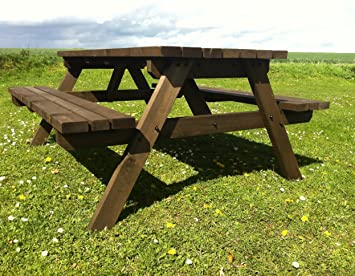 Awesome PUB STYLE PICNIC TABLE BENCH   6FT   HEAVY DUTY   HAND MADE   RUSTIC BROWN