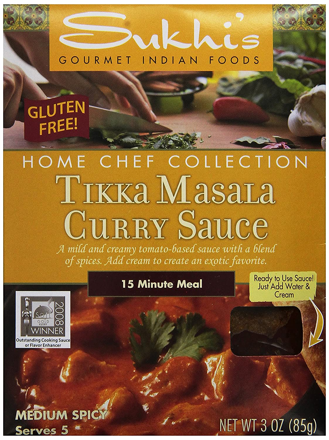 Sukhi's Gluten-Free Tikka Masala Sauce, 3-Ounce Packets(Pack of 6)