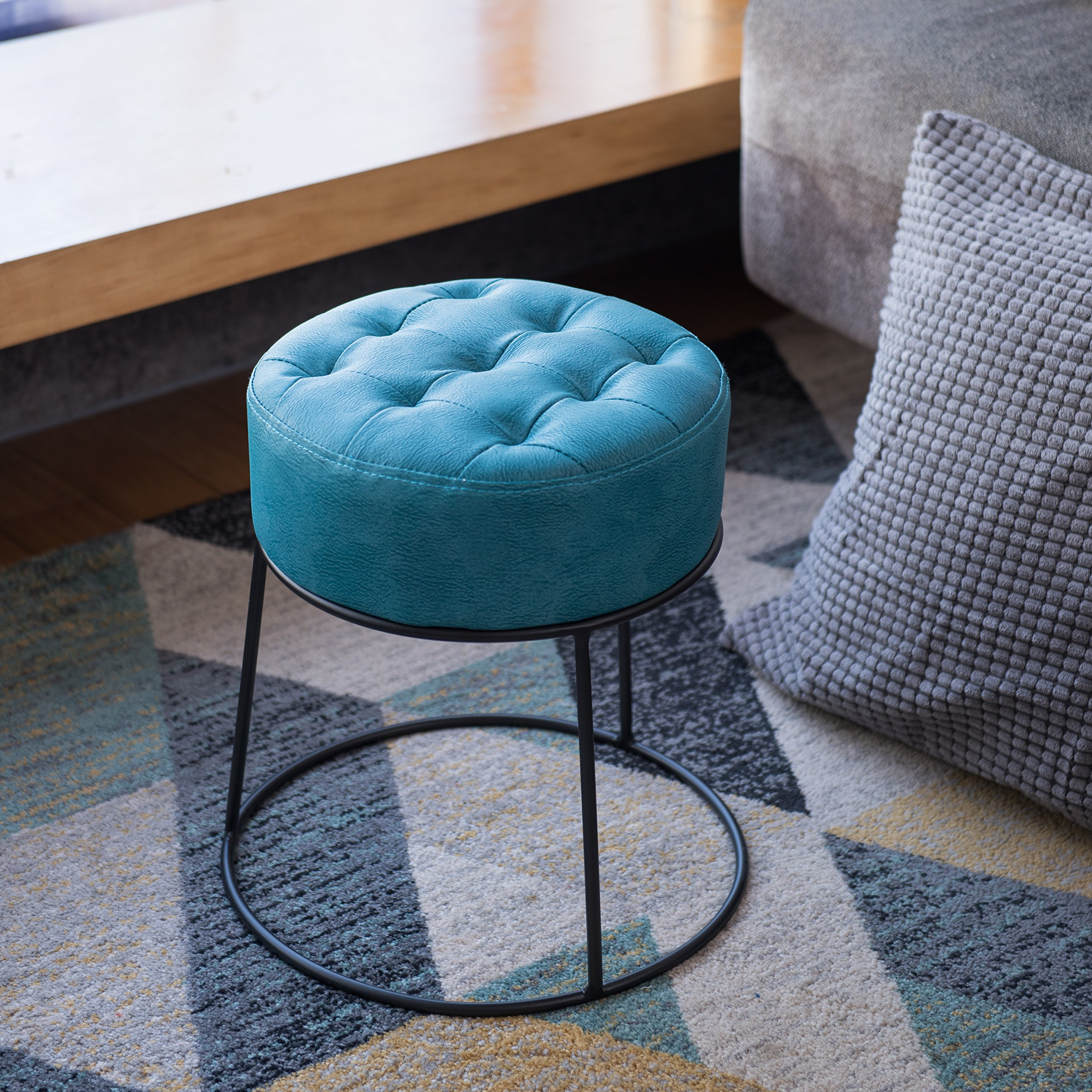 Art-Leon Dwarf Round Stool Stackable Ottoman Button Tufted Seat Pad Footrest Small Seat Hi-end Faux Leather Turquoise