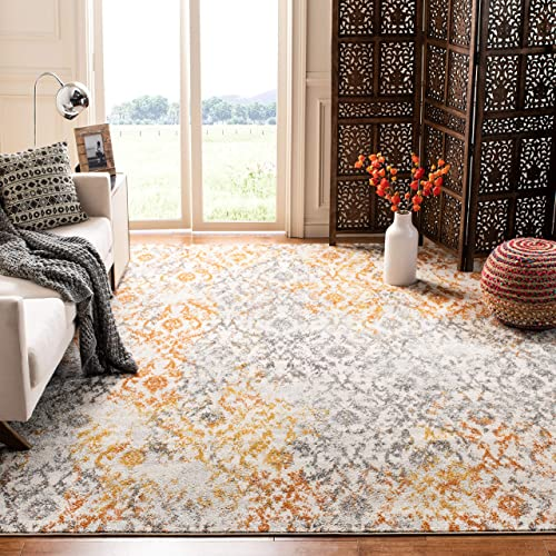 Safavieh Madison Collection MAD608K Cream and Orange Bohemian Chic Distressed Area Rug 8' x 10'