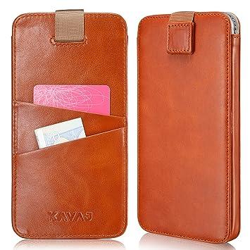 KAVAJ iPhone 8 Plus/7 Plus/6S Plus/6 Plus Funda Piel Case Miami de Color marrón coñac Funda de Piel con Tarjetero de Piel Original de Apple i Phone ...