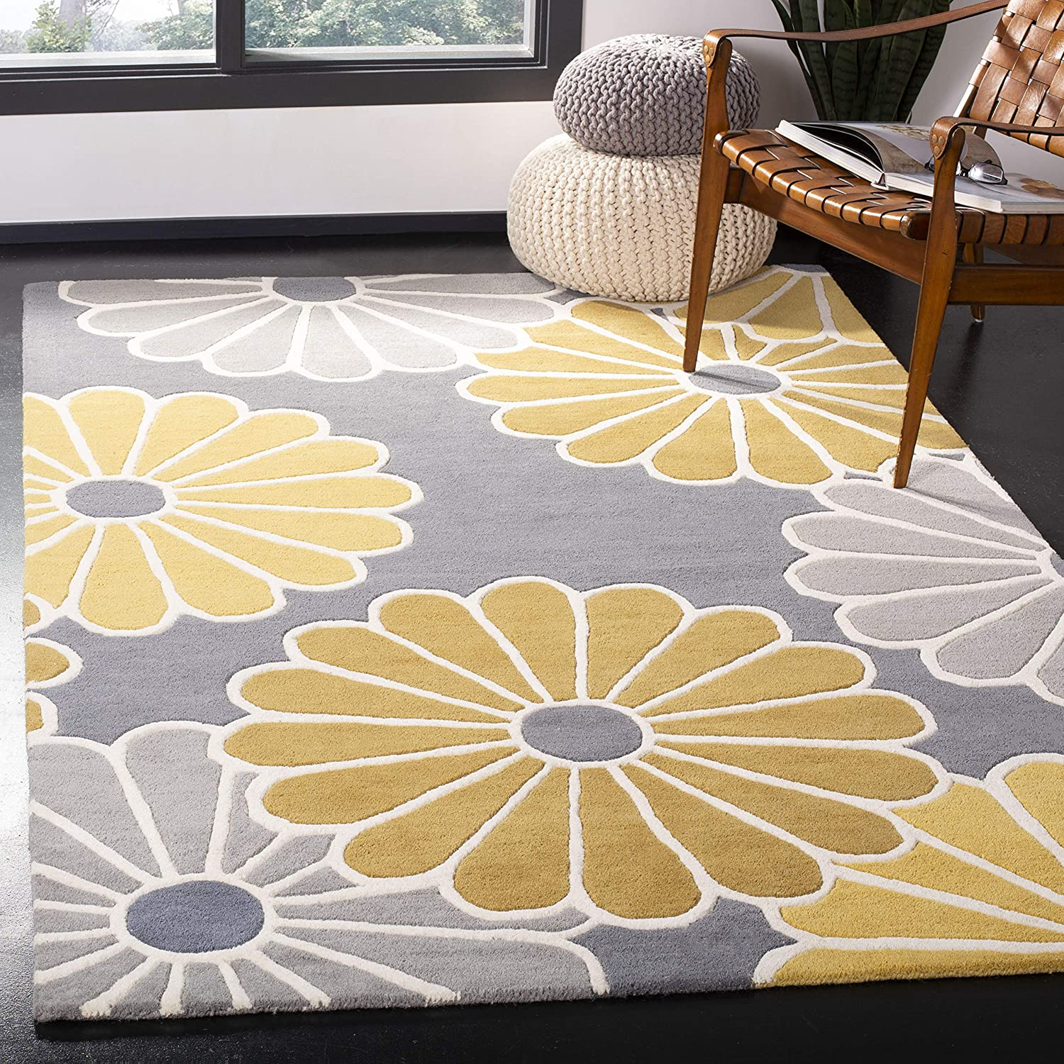 Amazon Com Safavieh Soho Collection Soh705a Handmade Premium Wool Viscose Area Rug 5 X 8 Grey Yellow Furniture Decor