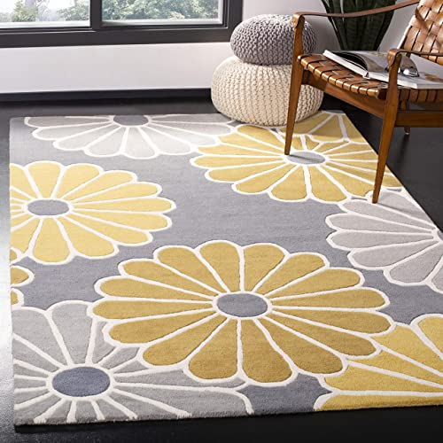 Safavieh Soho Collection SOH705A Handmade Grey and Yellow Premium Wool Area Rug 3 6 x 5 6