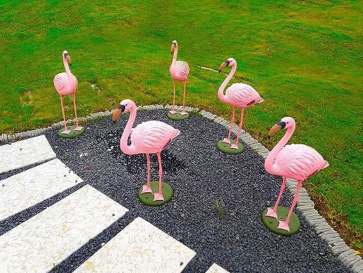 Set di 2 Statuette da Giardino in Metallo Colore: Rosa MACOSA WV42863 Flamingo