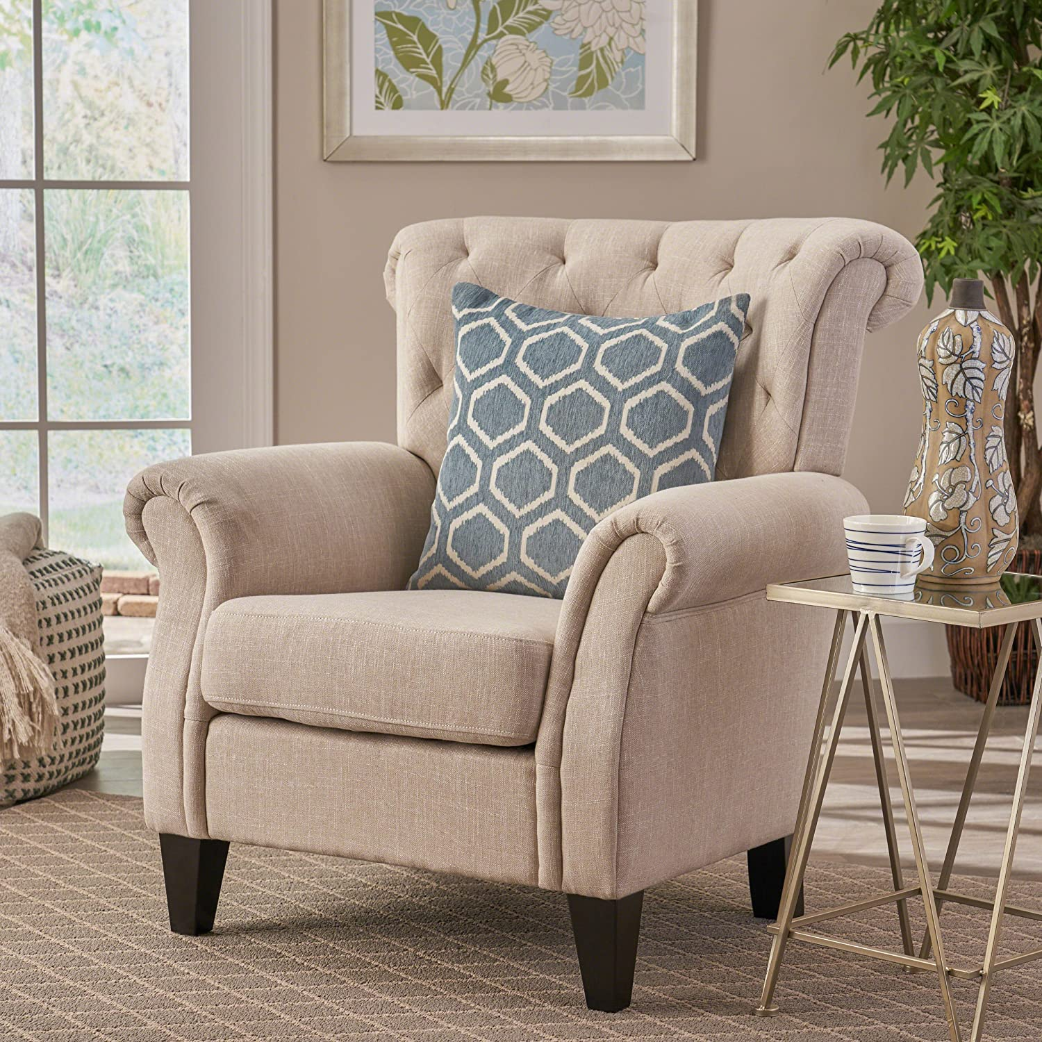 Christopher Knight Home 230016 Greggory Tufted Fabric Club Chair, Light Beige