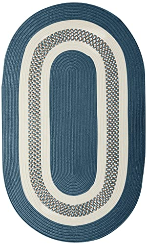 Crescent Oval Area Rug, 5 by 8-Feet, Lake Blue