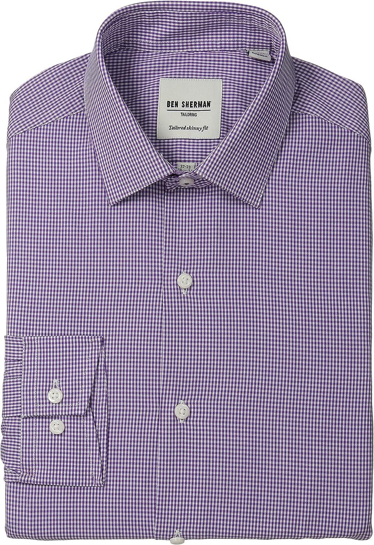 Ben Sherman - Camisa de vestir ajustada a cuadros para hombre - Morado - 39 cm Cuello 81 cm- 84 cm Manga: Amazon.es: Ropa y accesorios