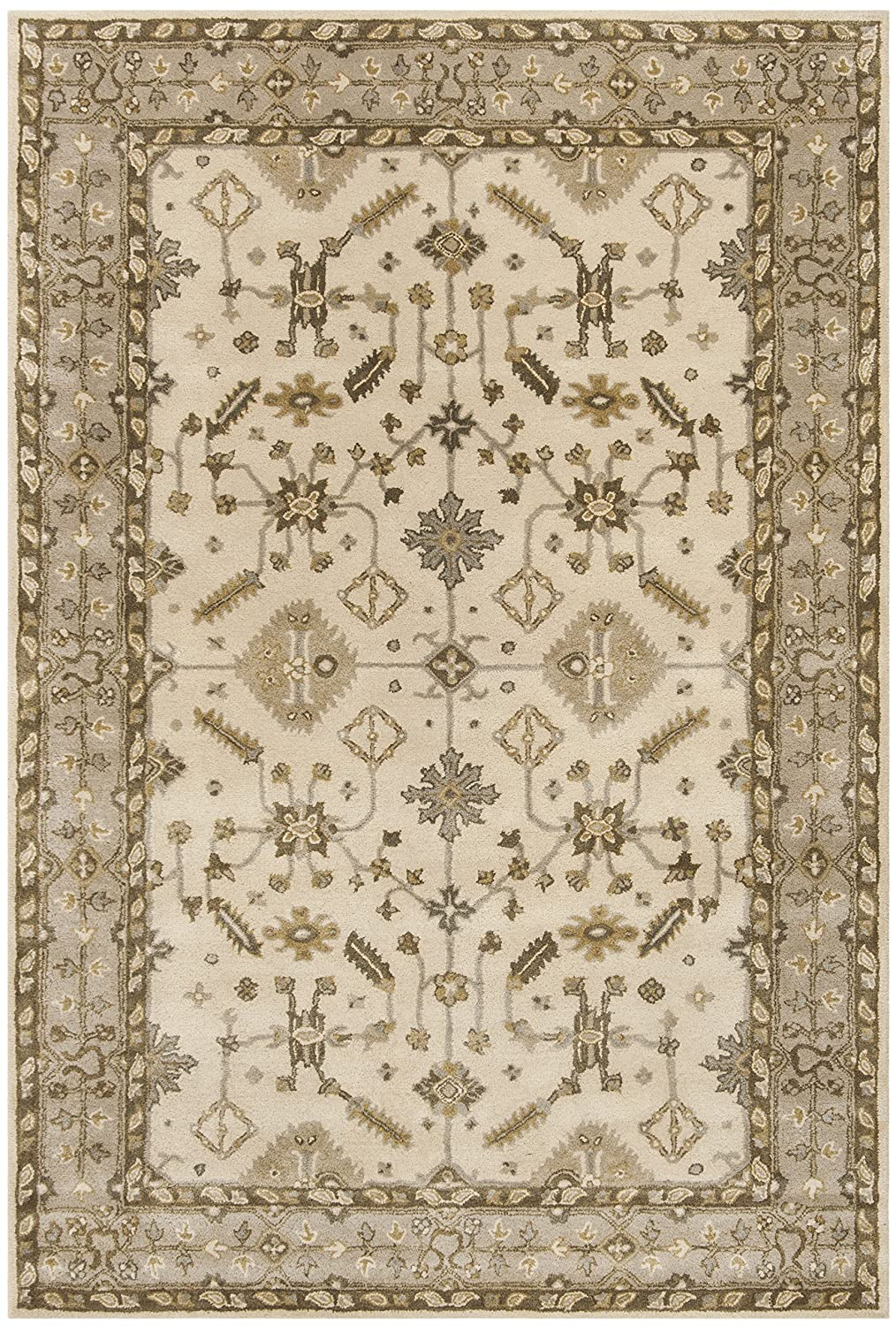 Safavieh Royalty Collection ROY870B Light Grey and Cream Traditional Oriental Wool Runner (2'3' x 7')