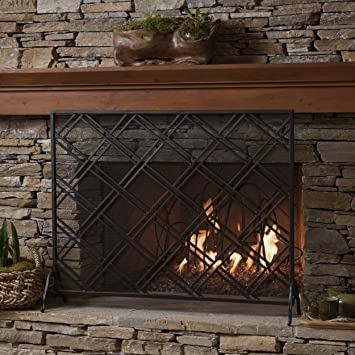 black iron fireplace screen. Jalama Single Panel Black Iron Fireplace Screen Amazon Com  Kitchen