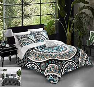 Chic Home 4 Piece Lucena Large Scale Contempo Bohemian Reversible Printed with Embroidered Details. Queen Quilt Set Black