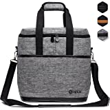 Premium Insulated Wine Bag by OPUX | Elegant Wine Carrying Tote, Extra Protection, Convenient, Durable Wine Bottle Carrier (6 Bottle, Heather Gray)