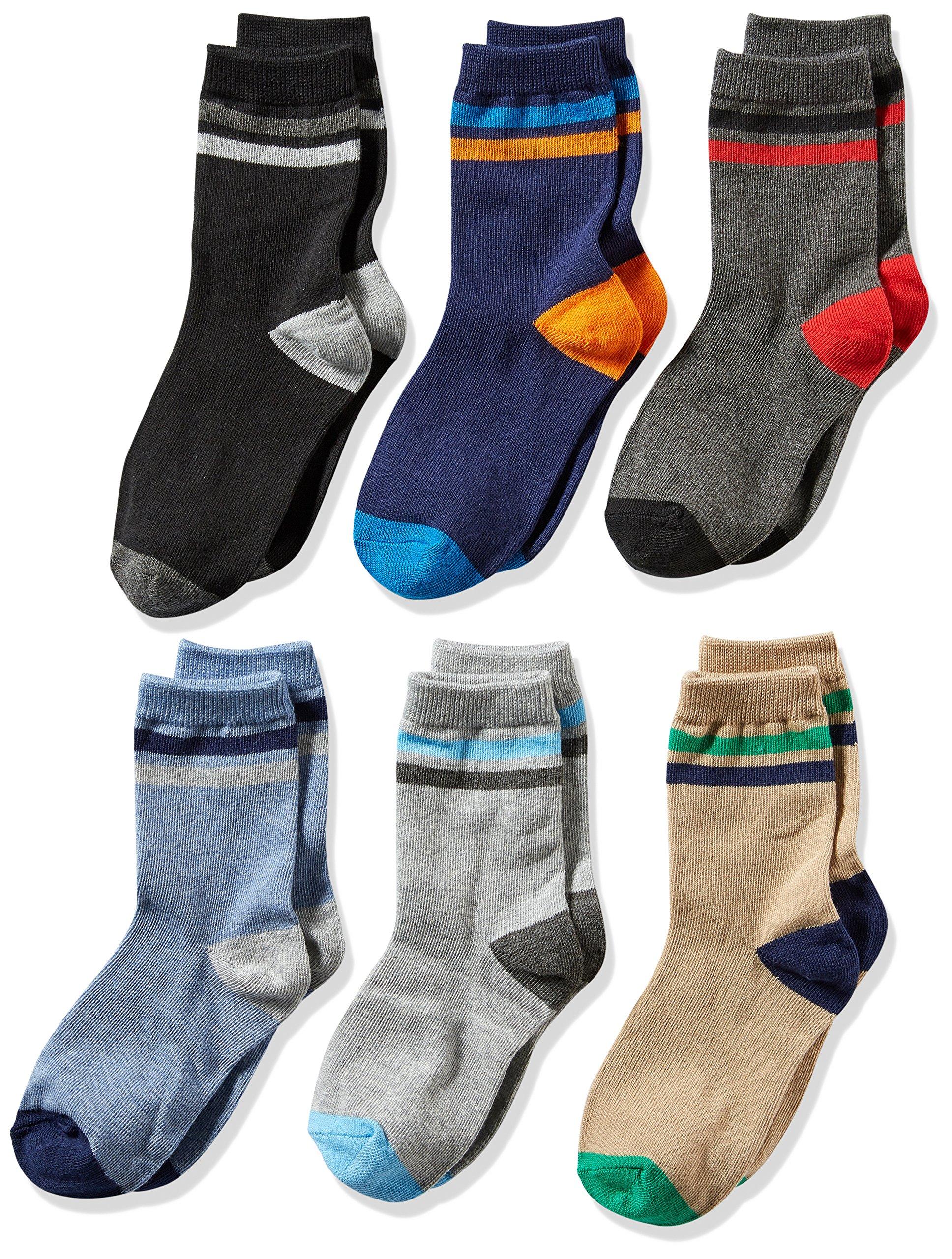 Jefferies Socks Big Boys' Stripe Crew Socks 6 Pack, Multi, Small